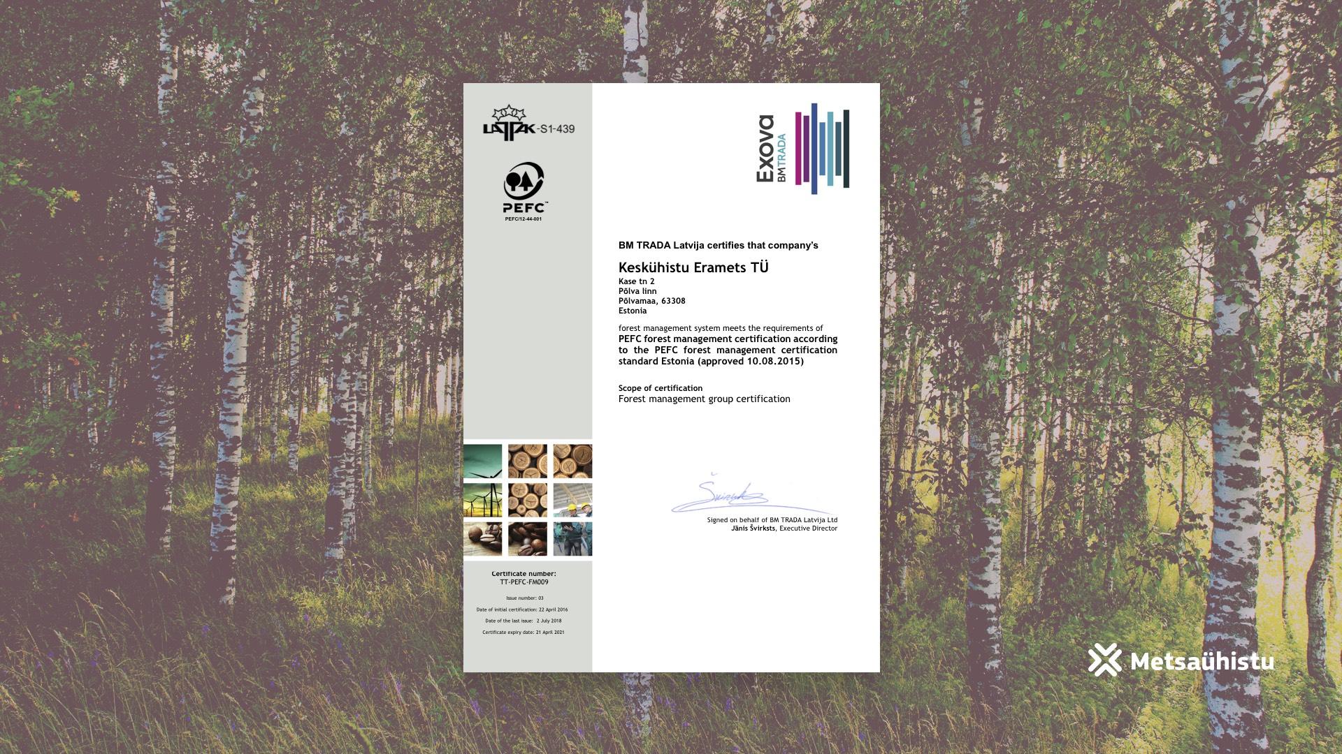 PEFC sertifikaat Metsaühistu